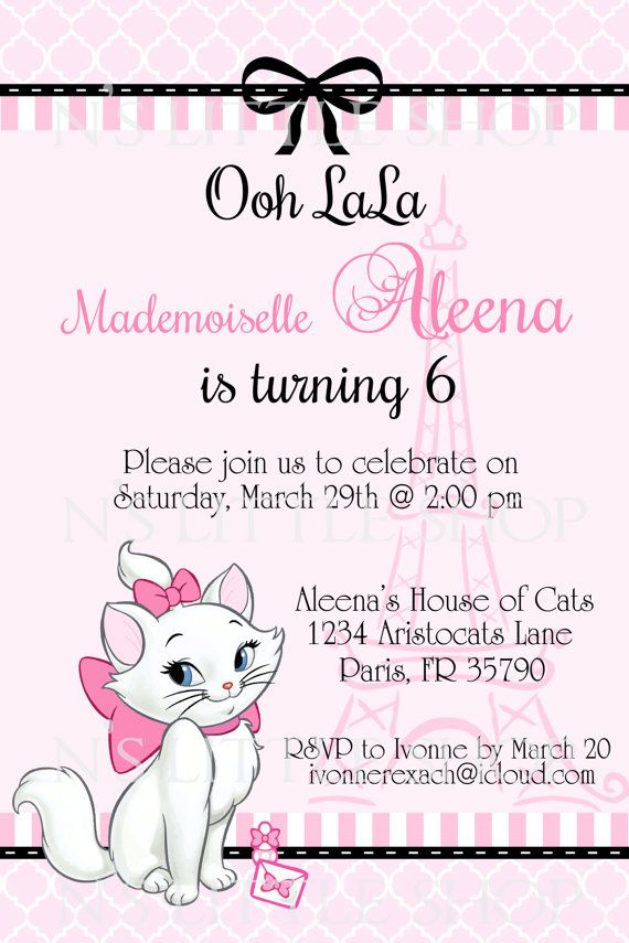Paris Cat invitation card for a girl / customize/ by nslittleshop, $10.00