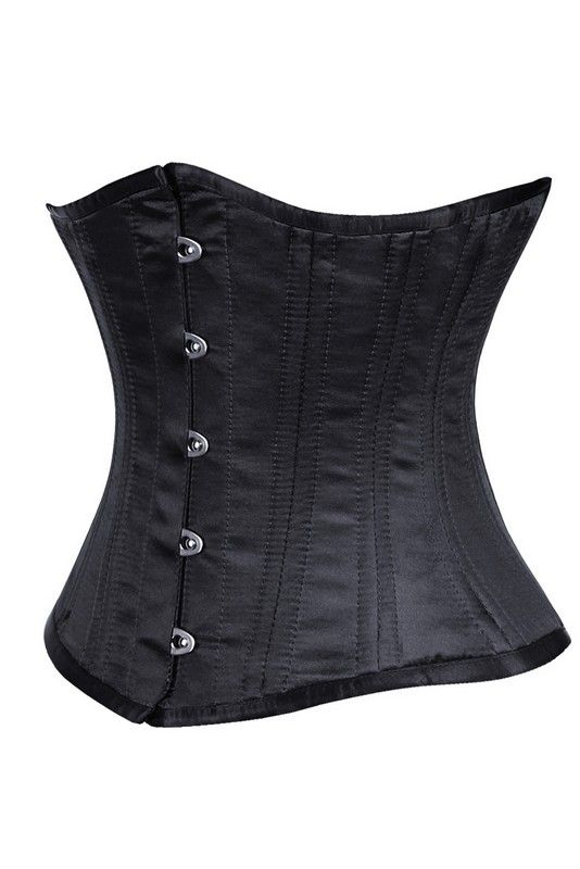 Zwart Satijn Waisttrain Corset - Ladywear Exclusieve Lingerie