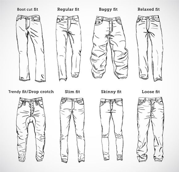 mens different trouser cuts sketches – Google Sear…