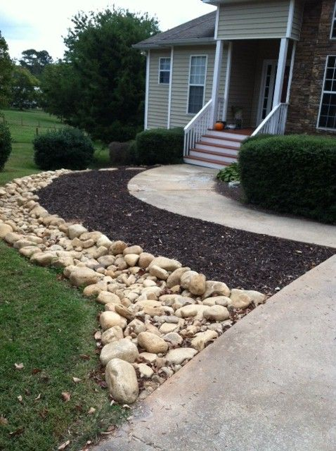 133 best images about dry creek beds on pinterest river for Rock garden bed ideas