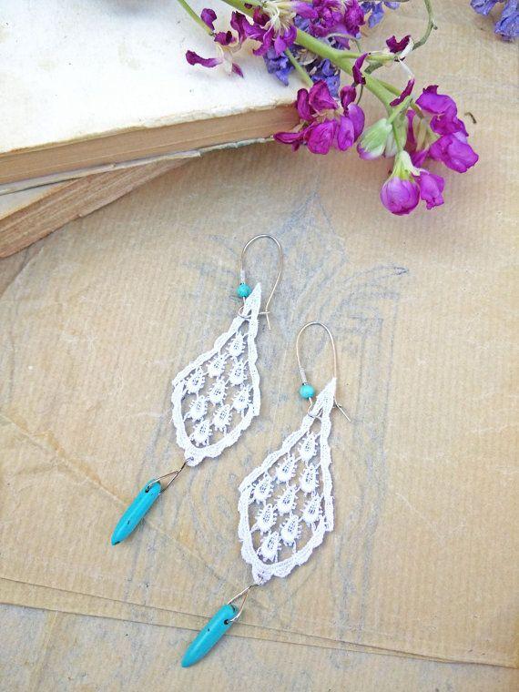 Lace Earrings White Lace Earrings by AnVhandmadecreations on Etsy