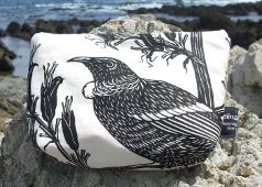 Tui make up bag | approx 23cm width by 15cm depth, 100% printed cotton, lined in cotton. Zip across top | Price: NZ$32.00