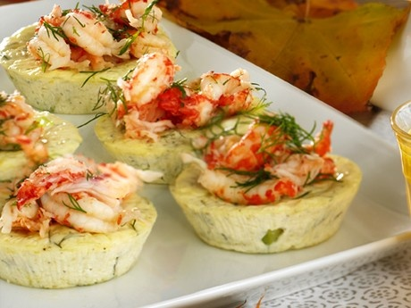 Cheese patés with crayfish