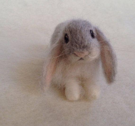 Nadel Gefilzt Lop Eared Baby Bunny Kaninchen Grau Angora Luxus Haustier Valyanie Zhivotnye Mimy