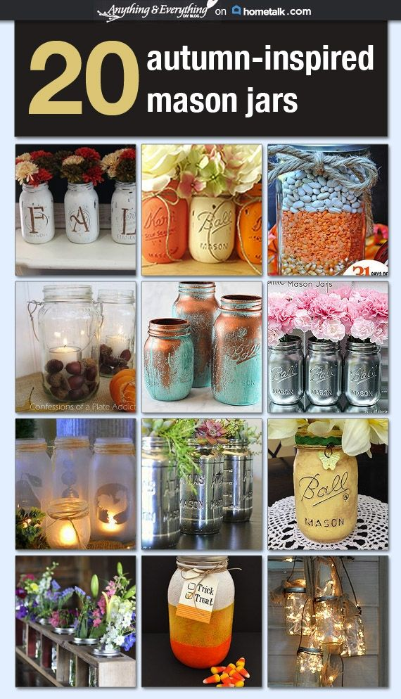 20 Autumn-Inspired Mason Jars - Anything & Everything curated for Hometalk #MasonJars