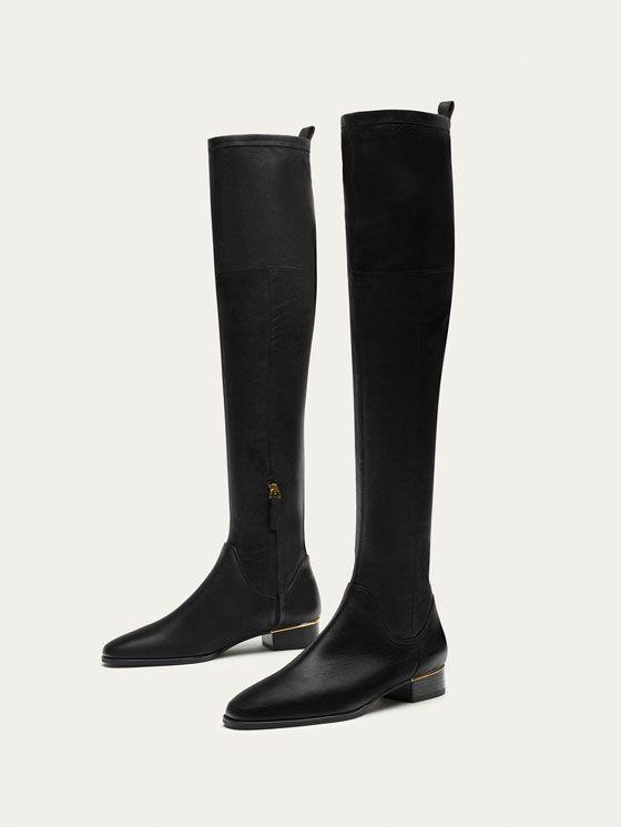 BOTA XL PIEL NEGRA de MUJER - Zapatos - Ver todo de Massimo Dutti de Otoño Invierno 2017 por 149. ¡Elegancia natural!