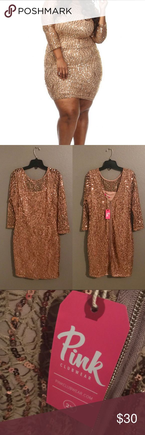 Gold Dress Pink Clubwear Gold Dress NEW W/Tag 2XL Pink Clubwear Dresses Midi