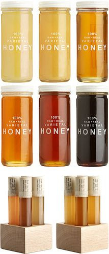 A spectrum of beautiful honeys from Bee Raw Honey. I am intrigued by their flavors - buckwheat, like molasses, blueberry, like buttery earth and star thistle, a sweet cinnamon - just to name a few!