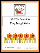 Free Printable 5 Little Pumpkin Play Dough Counting Mats via www.pre-kpages.com