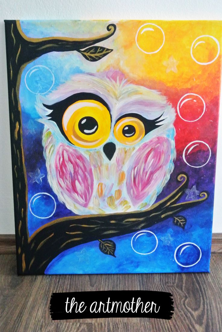 Colorful owl painting -  to decorate children´s room