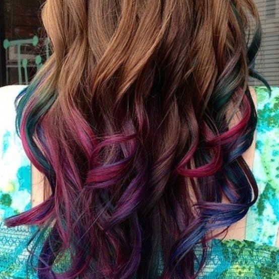 violet highlights in brown hair with blue and pink highlights