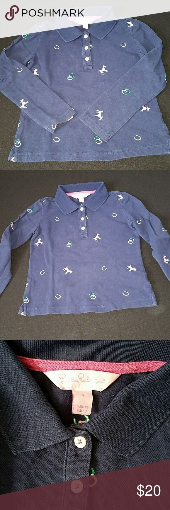 Lilly Pulitzer Kids 4 Ponies Horseshoes Polo Shirt Lilly Pulitzer Kids 4 Ponies Horseshoes Polo Shirt.  Probably little girls but my son wore it for a derby party  last year. Has slight fading from being washed (the typical true navy fading of LP.)   Smoke and pet free home. Lilly Pulitzer Shirts & Tops Polos
