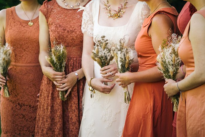 Great burnt orange bridesmaids dresses perfect for fall // When Geeks Wed