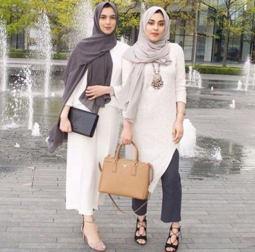 neutral hijab outfit- Hijabi fashion Bloggers Street looks…