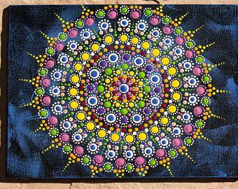 Rustic Blue Mandala Jewel Original dot art painting acrylic on canvas board multicolours vibrant