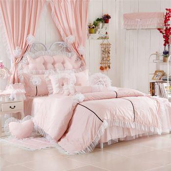 100% pamuk 3/4 adet dantel kenarı ile ülke tarzı çiçek yatak setleri pembe renk kız yatak odası dekorasyon nevresim set