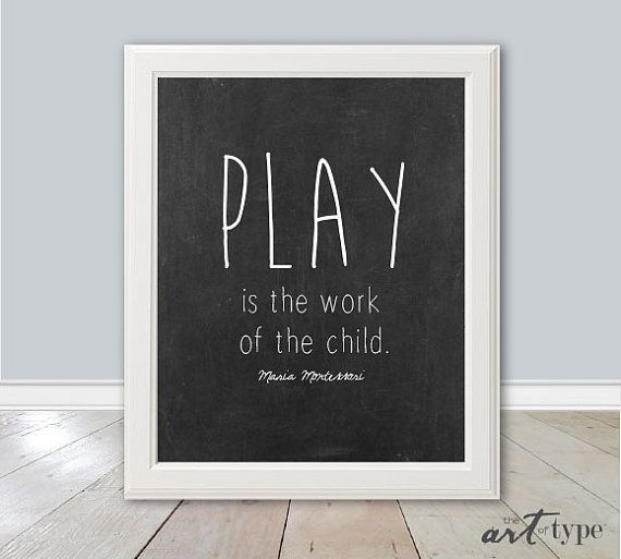 Education Quote Print, Maria Montessori INSTANT Download, 8x10 Printable, Playroom Wall Art, Homeschool Print, Montessori Quotes, Play, DIY
