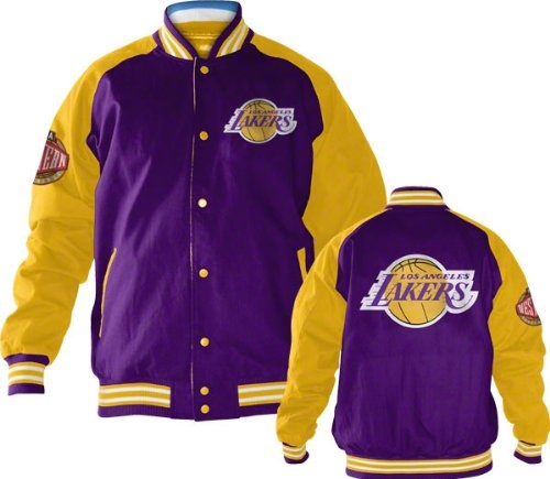 2e4fb2723d4 Los Angeles Lakers Snap Front Varsity Reversible Jacket