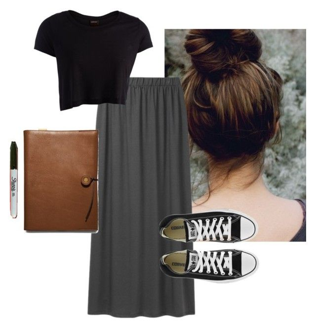 Lena Duchannes inspired by bxnny on Polyvore featuring polyvore fashion style Pieces Uniqlo Coach Sharpie Converse clothing