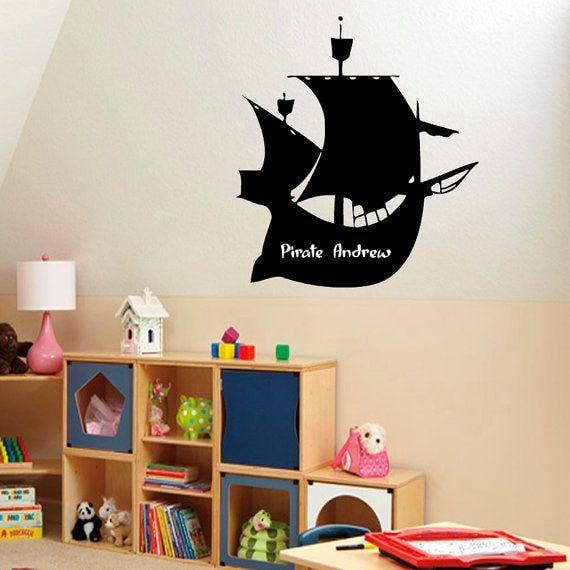 Pirate Ship Vinyl Sticker Boy Personalized Name Home Interior Art Mural Nursery Room Decor Sticker Decal size 33x39 Color