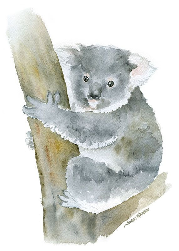 Koala watercolor giclée reproduction. Portrait/vertical orientation. Printed on fine art paper using archival pigment inks. This quality printing allows over 100 years of vivid color in a typical home