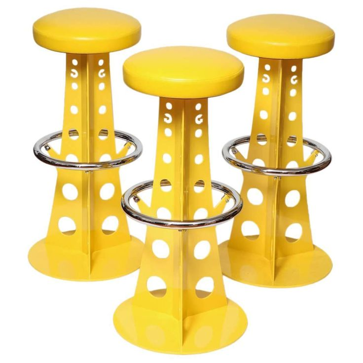 Three Midcentury Space Age Bar Stools, France, Circa 1955