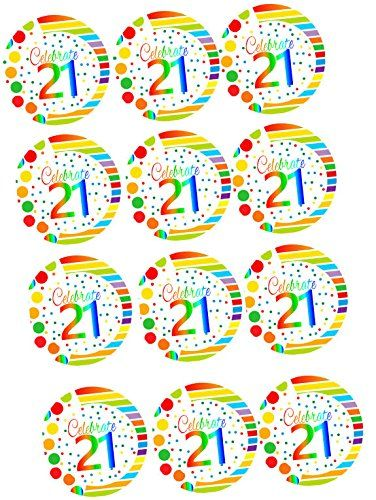 CakeSupplyShop ItemRE3021 Happy 21st Birthday 3inch Rainbow Edible Cupcake  Cookie Frosting Image Toppers 12ct *** You can get more details by clicking on the image.