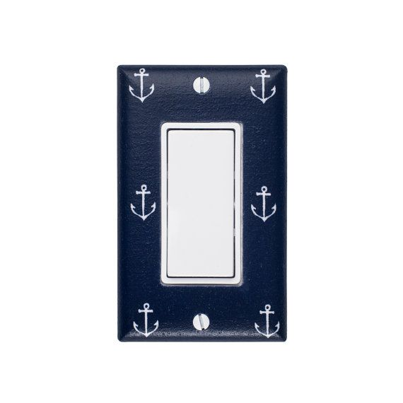 Anchor Rocker Light Switch Plate Cover / Nautical Kids Room / Baby Boy / Bathroom / Out to Sea Navy by Michael Miller