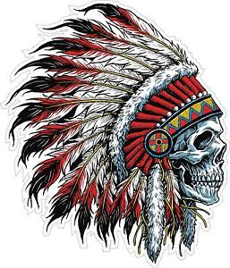 INDIAN CHIEF HEAD FEATHERS HEADDRESS TRIBAL SKULL SKULLS TRIBE STICKER DECALS