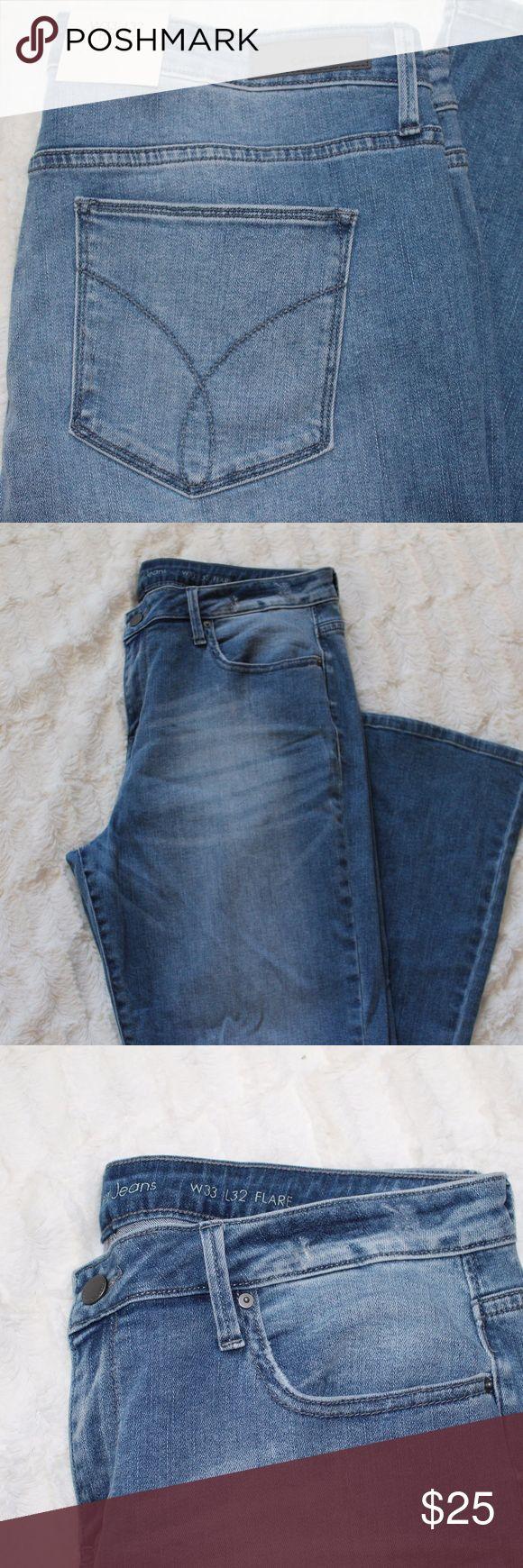 "NWT-Calvin-Klein-Light-Wash-Flare-Denim-Jeans Brand new light wash flare jeans by Calvin Klein. Lightly factory distressed jeans.  Brand: Calvin Klein Size: W33 L32 Measurements: Waist- 33"", Length- 32"" Calvin Klein Jeans"