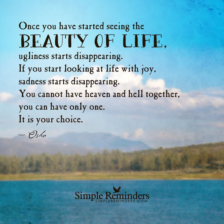 Once you have started seeing the beauty of life, ugliness ...