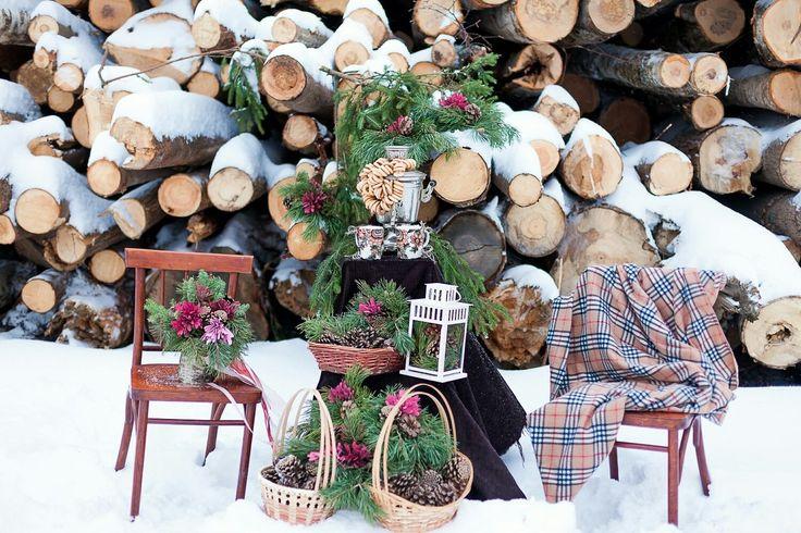 winter wedding, decor, love, style a-La-Rousse,  photo zone. фотозона, зимняя свадьба, шишки, декор.