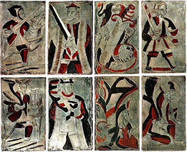 Jogando-cartões gravados em prata do Peru