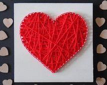 VENDITA - String Art, String Art cuore, filato Art, arte parete rustica, l'arredamento rustico, matrimonio String Art, decorazione di nozze,…