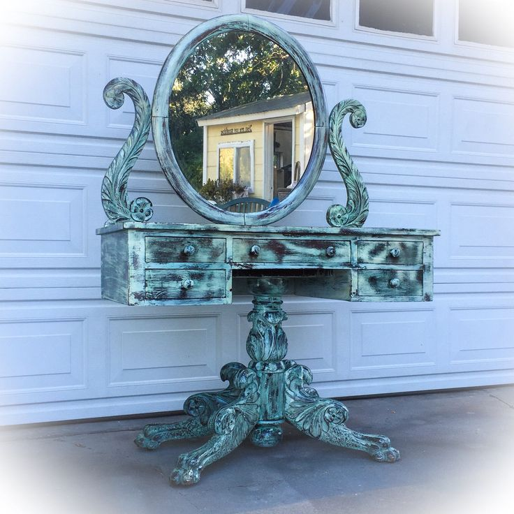 Antique Vanity w/ pivoting mirror, hand carved, distressed, french country makeup table, shabby chic vanity table, French provincial vanity, https://www.etsy.com/listing/524872346/antique-vanity-w-pivoting-mirror-hand
