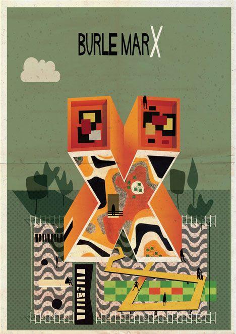 Archibet alphabet of architects by Federico Babina   Burle Marx