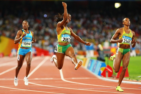 Shelly Ann Fraser - 100m - Jamaica  Raised in a one room tenement in the toughest neighborhood in Jamaica, Fraser used running to advance her education.  In addition to her gold medal at Beijing, she has a degree in Child developement and is a UNICEF ambassador.