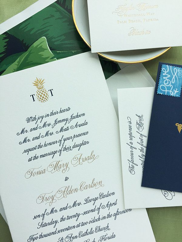 wedding invitations from michaels crafts%0A Luxury West Palm Beach  Florida Luxury Formal Wedding Invitation   Gold  Foil  Navy Letterpress