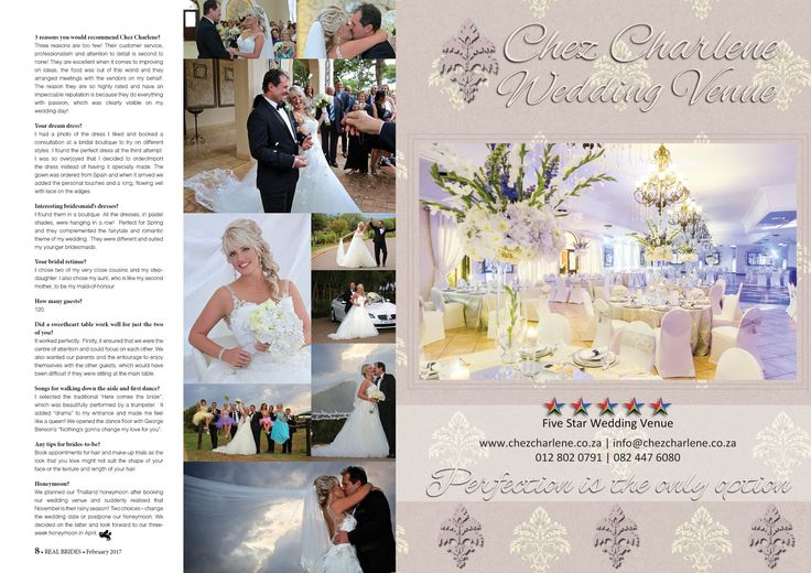 Chez Charlene 5 Star Wedding Venue -  Pretoria East - Gauteng - www.chezcharlene.co.za - Real Brides February 2017