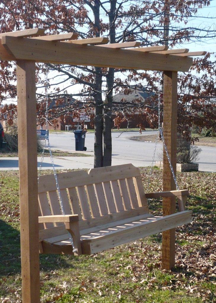 4x4 post style arbor swing garden swing seat porch