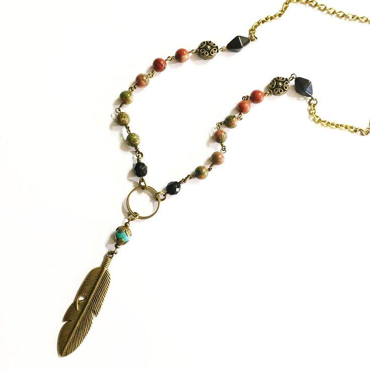 Bronze Feather, Unakite, Jasper and Brass Boho Necklace — Mary Grace Jewellery