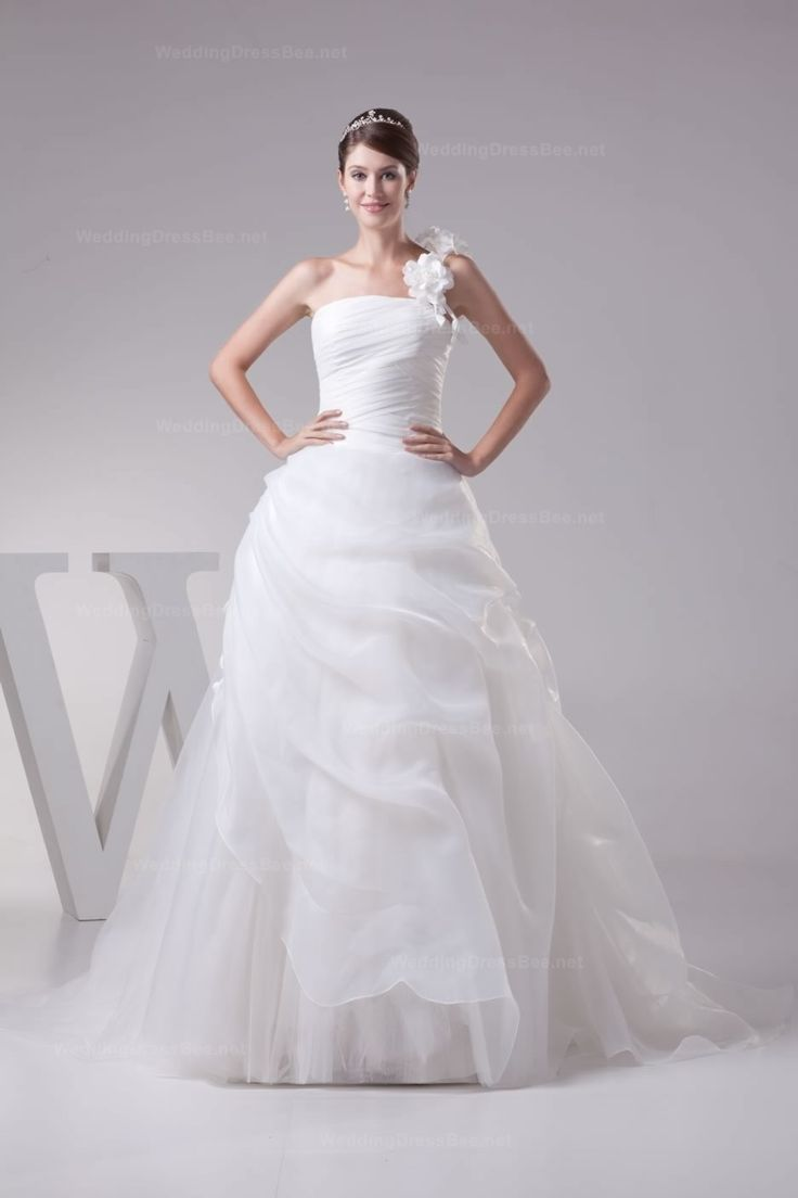 Beautiful single flower shoulder pleats and ruffle detail organza ball gown
