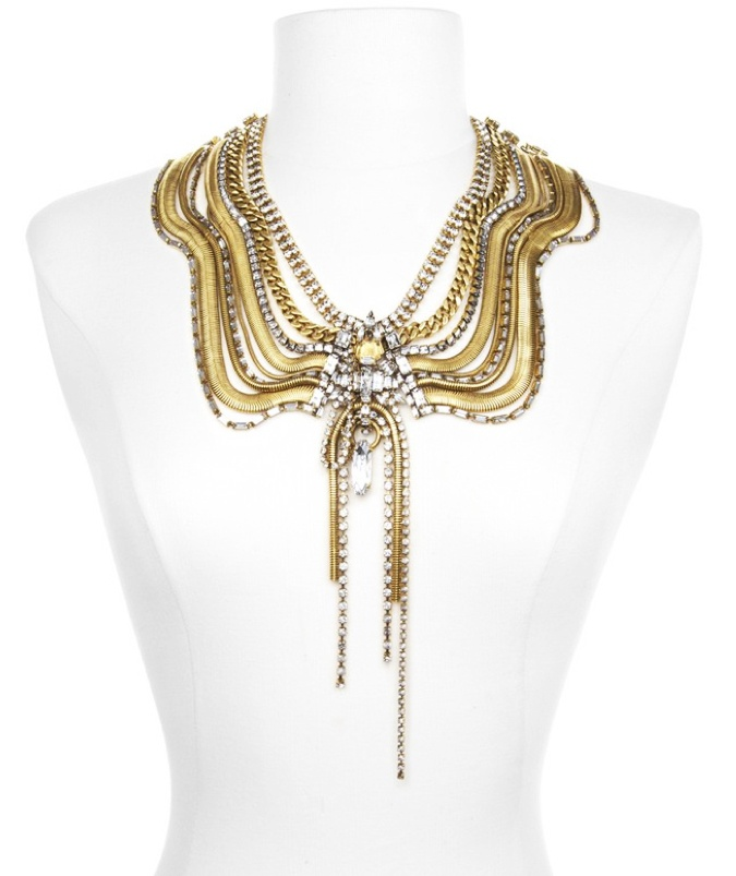 """24kt #gold-plated """"Bette Davis Eyes"""" #necklace with clear #Swarovski crystals and gold-plated snake chains by Erickson Beamon  from blog http://geeliciouspassion.wordpress.com/2012/05/31/ethnicity/"""