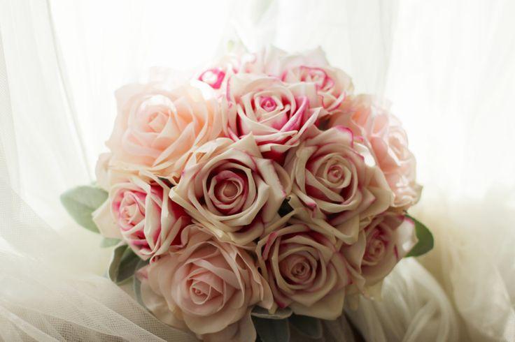 Erin's bridal bouquet.  Karina pink ice and Klara bridal pink roses and lambs ear.