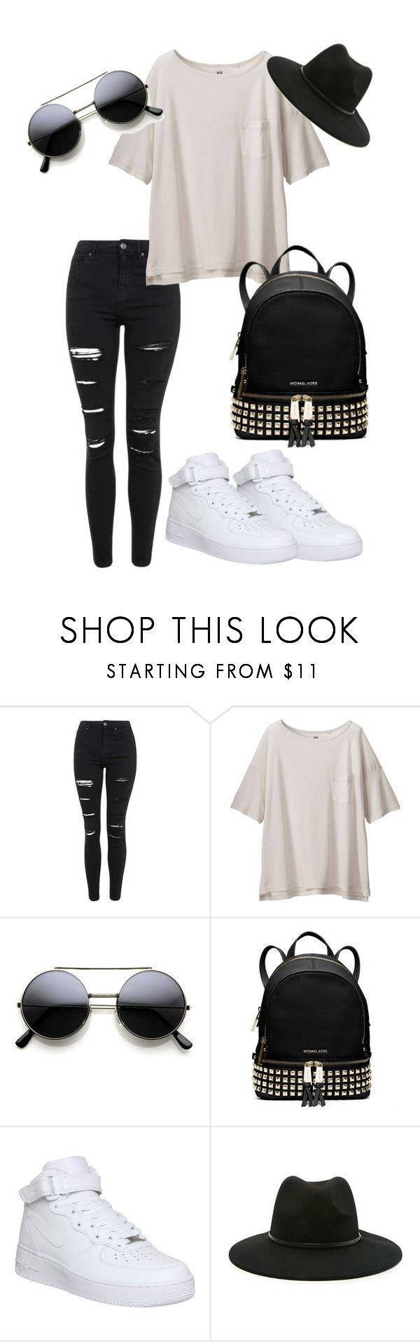 """""""Vintage 2"""" by aishaamin25 ❤ liked on Polyvore featuring Topshop, Uniqlo, MICHAEL Michael Kors, NIKE, Forever 21, vintage, women's clothing, women's fashion, women and female"""