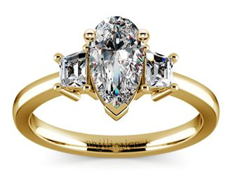 Pear Trapezoid Diamond Engagement Ring in Yellow Gold  http://www.brilliance.com/engagement-rings/trapezoid-diamond-ring-yellow-gold