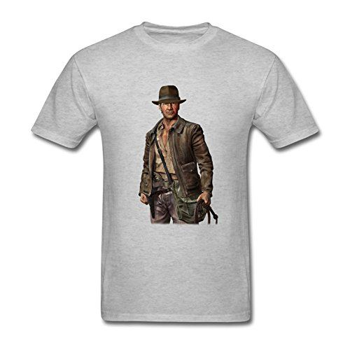 UOOLTTR Mens Film Character Indiana Jones T-Shirt Grey XXXL @ niftywarehouse.com #NiftyWarehouse #IndianaJones #GeorgeLucas #HarrisonFord #Movies