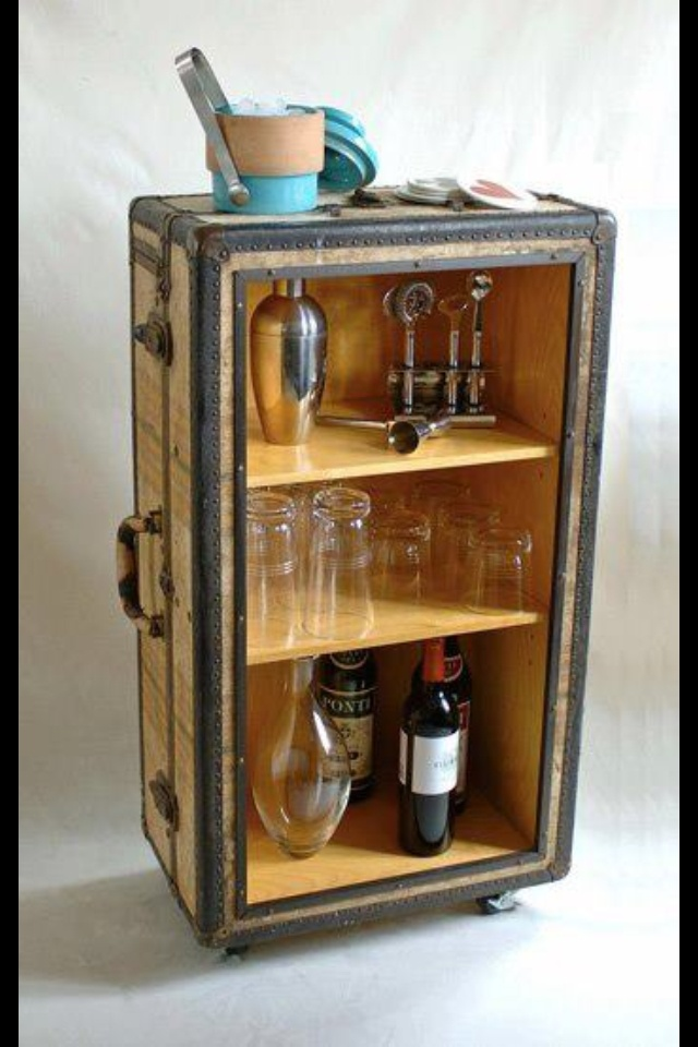 DIY suitcase bar!
