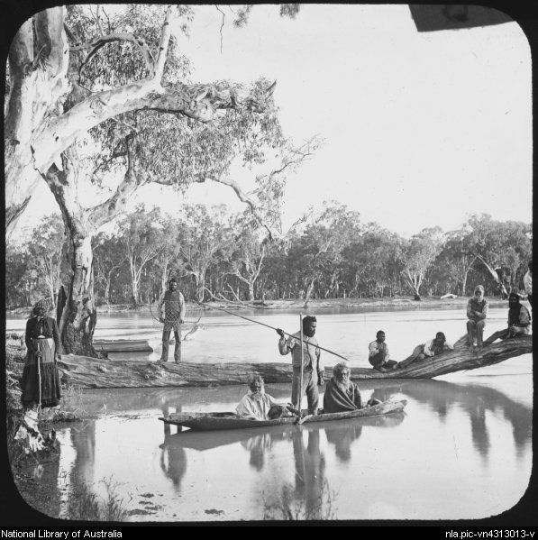 Bayliss, Charles, 1850-1897 Aboriginal people fishing from the banks and a bark canoe, lower Murray River near Chowilla Station, South Australia, 1886 [transparency]