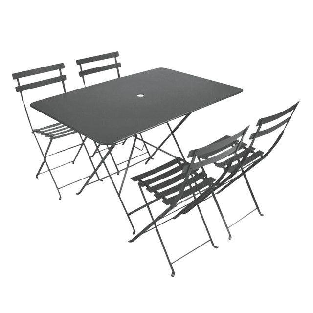 Fermob - Bistro - Tuin-set 4 stoelen - onweergrijs/tafel 117x77cm